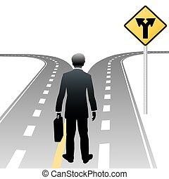 decisione affari, segno, persona, indicazione, strada