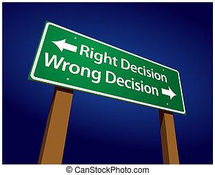 decisione, decisione, illustrazione, segno, torto, destra, verde, strada