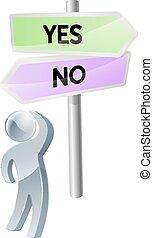 decisione, no, sì, o