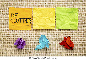 declutter, note, concetto, appiccicoso