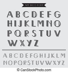 deco, arte, vendemmia, -, tipografia, vettore, font, eps10, tipo