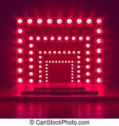 decoration., mostra, luce, cornice, vincitore, gioco, vettore, retro, fondo, casinò, palcoscenico