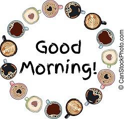 decorativo, caffè, buono, ghirlanda, ornamento, stile, mano, mugs., disegnato, comico, campanelle, cartone animato, morning.