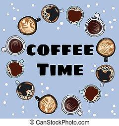 decorativo, caffè, ghirlanda, mugs., ornamento, mano, time., disegnato, comico, campanelle, cartone animato