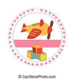 decorativo, cerchio, cubi, aeroplano, giocattoli