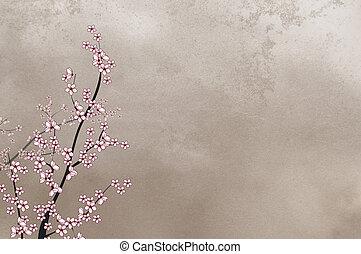 decorativo, ciliegia, immagine, albero, posto, fondo, testo, ruvido, o, bello