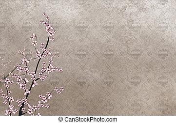 decorativo, cinese, ciliegia, immagine, albero, filigrana, posto, modello, testo, o