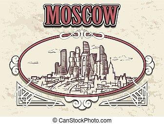 decorativo, city., cornice, vendemmia, mosca, mano, retro, disegnato, russia, orizzonte