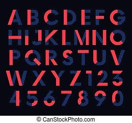 decorativo, colorato, alfabeto, vettore, font, geometrico