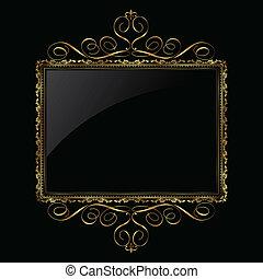decorativo, cornice, nero, oro