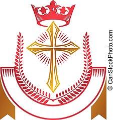 decorativo, corona dorata, cristiano, illustration., ribbon., cappotto, araldico, ghirlanda, reale, croce, isolato, religione, vettore, creato, lusso, logotipo, emblema, alloro, braccia, simbolo.