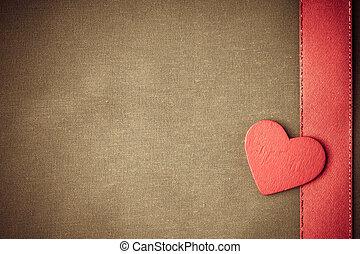 decorativo, cuore, stoffa, legno, fondo., beige, rosso