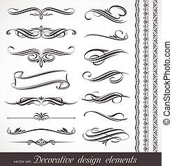 decorativo, decorazione, elementi, &, vettore, disegno, pagina