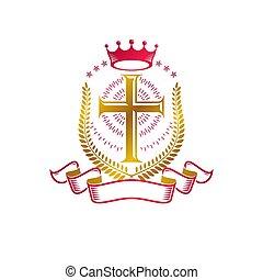 decorativo, dorato, araldico, ghirlanda, isolato, alloro, emblema, logotipo, spiritualità, reale, croce, religione, lusso, cristiano, simbolo., braccia, ribbon., illustration., creato, cappotto, corona, vettore