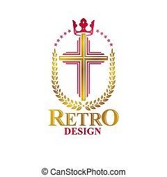 decorativo, dorato, cappotto, cristiano, illustration., religione, reale, araldico, creato, corona, croce, wreath., isolato, spiritualità, tema, vettore, braccia, logotipo, emblema, alloro, simbolo.