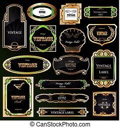 decorativo, dorato, set, labels., vettore, nero, cornici