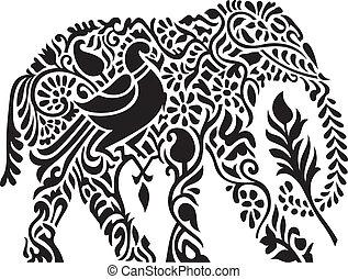 decorativo, elefante indiano