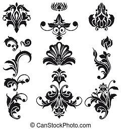 decorativo, elementi floreali, disegno