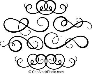 decorativo, elements., calligraphic