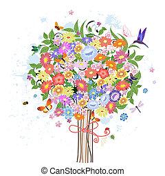 decorativo, fiore, albero, uccelli