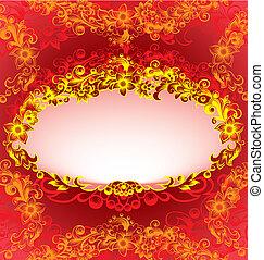 decorativo, floreale, cornice, rosso