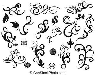 decorativo, floreale, turbine, disegni elementi