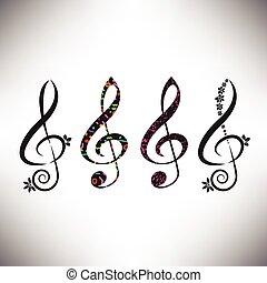 decorativo, g, assortito, quattro, scegliere, clefs