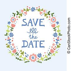 decorativo, ghirlanda, data, floreale, risparmiare, composizione