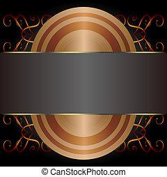 decorativo, illustration., oro, vendemmia, etichetta, vettore, cornici