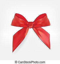 decorativo, illustrazione, realistico, vettore, bow., rosso, 3d