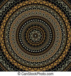decorativo, mandala., indiano, pattern.