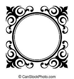 decorativo, ornamentale, cerchio, cornice