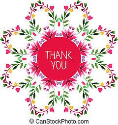 decorativo, ringraziare, modello, ornament., acquarello, floreale, lei, rotondo, scheda