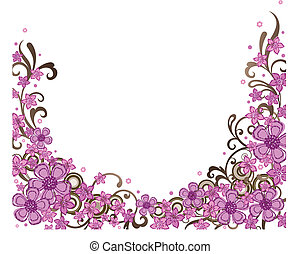 decorativo, rosa, bordo, floreale