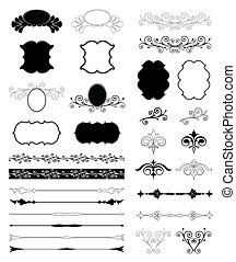 decorativo, set, elements., vettore, disegno, floreale