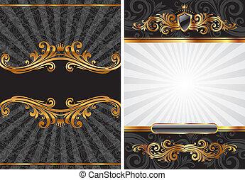 decorativo, set, oro, &, vettore, nero, lusso, fondo