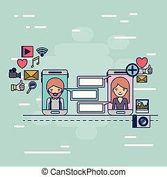 decorativo, smartphone, colorito, icone, comunicazione, multimedia, domanda, donna, tecnologia, fondo, fra, congegno, uomo