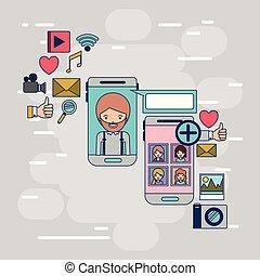 decorativo, smartphone, donna, colorito, icone, comunicazione, multimedia, domanda, set, tecnologia, fondo, fra, congegno, uomo