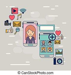 decorativo, smartphone, donna, colorito, icone, comunicazione, multimedia, persone, domanda, set, tecnologia, fondo, fra, congegno, sociale