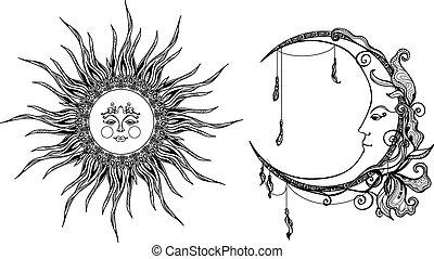 decorativo, sole, luna