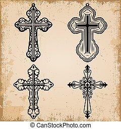 decorativo, vendemmia, set, religioso, croci