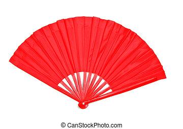 decorativo, ventilatore carta, rosso, cinese