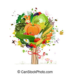 decorativo, verdura, albero