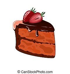 decorato, torta, cake., cioccolato, gocciolamenti, fetta, piastra., pezzo, bianco, strawberry.