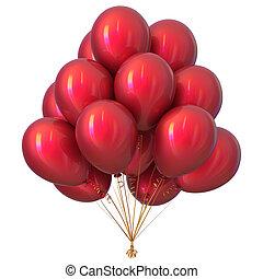 decorazione, compleanno, lucido, festa, palloni, rosso, felice