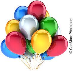 decorazione, compleanno, palloni, felice