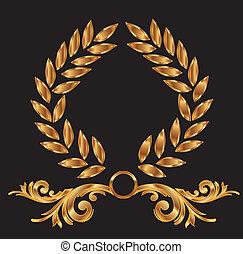 decorazione, corona d'alloro, oro