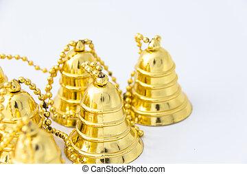 decorazione, dorato, campana