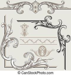 decorazione, elementi, classico