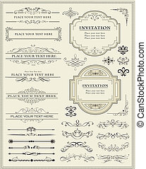 decorazione, elementi, disegno, pagina, calligraphic